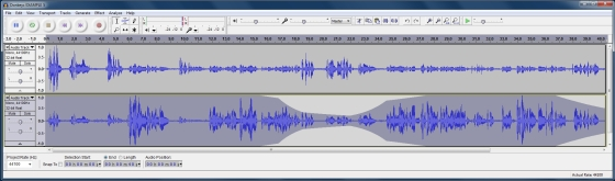 audacity donkey example 5 - Podcasting - Twin microphone field recording techniques