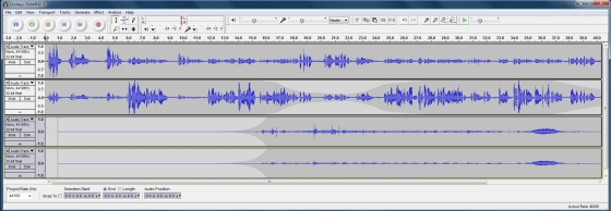 audacity donkey example 6 - Podcasting - Twin microphone field recording techniques