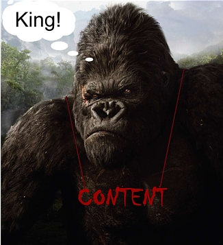 King Kong with the word 'Content' around his neck